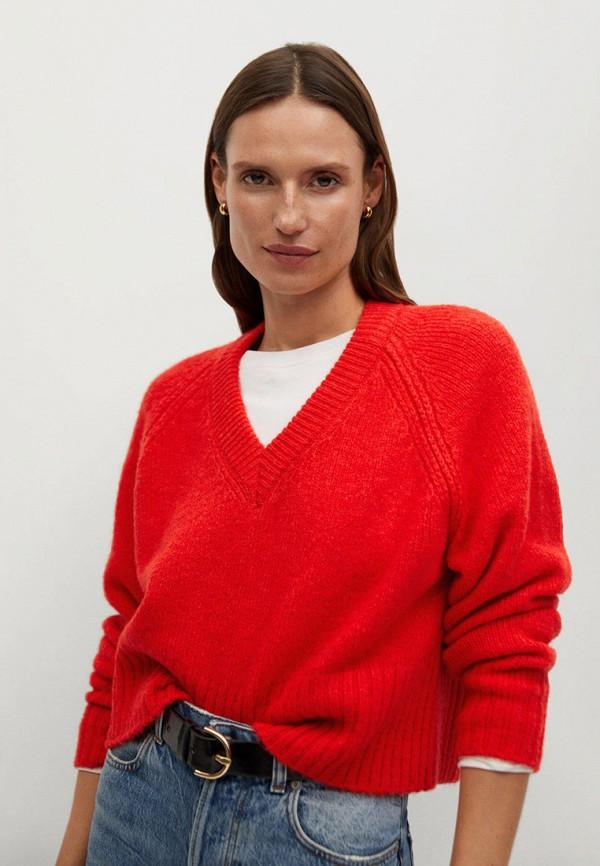 женский пуловер mango, красный
