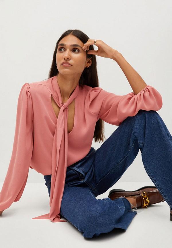 женская блузка mango, розовая