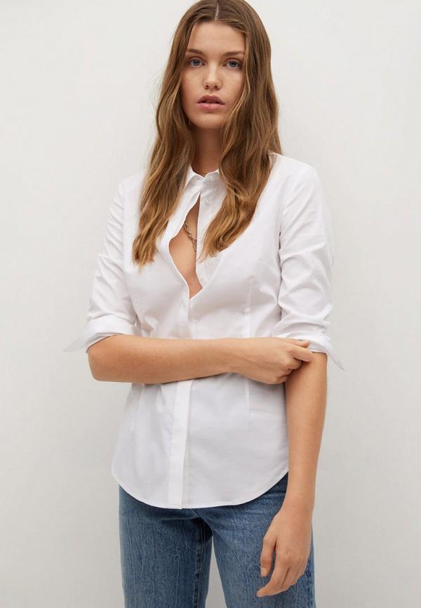 женская рубашка с длинным рукавом mango, белая