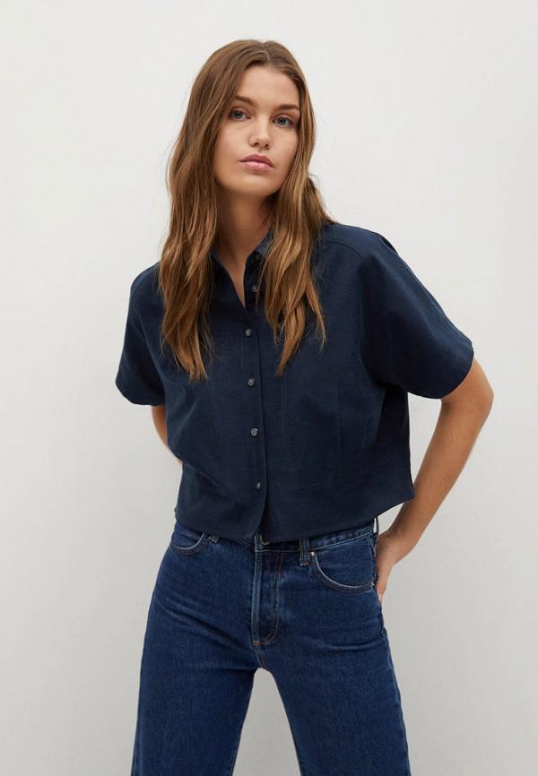 женская рубашка с коротким рукавом mango, синяя