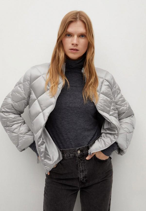 женская утепленные куртка mango, серебряная