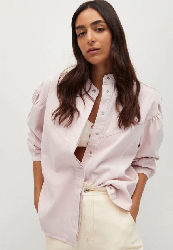 женская рубашка с длинным рукавом mango, розовая
