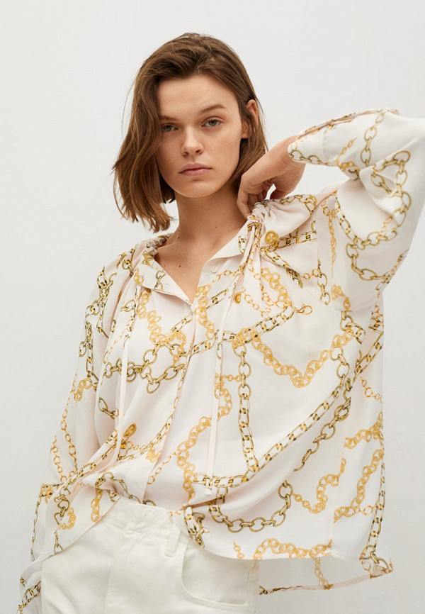 женская блузка с длинным рукавом mango, белая