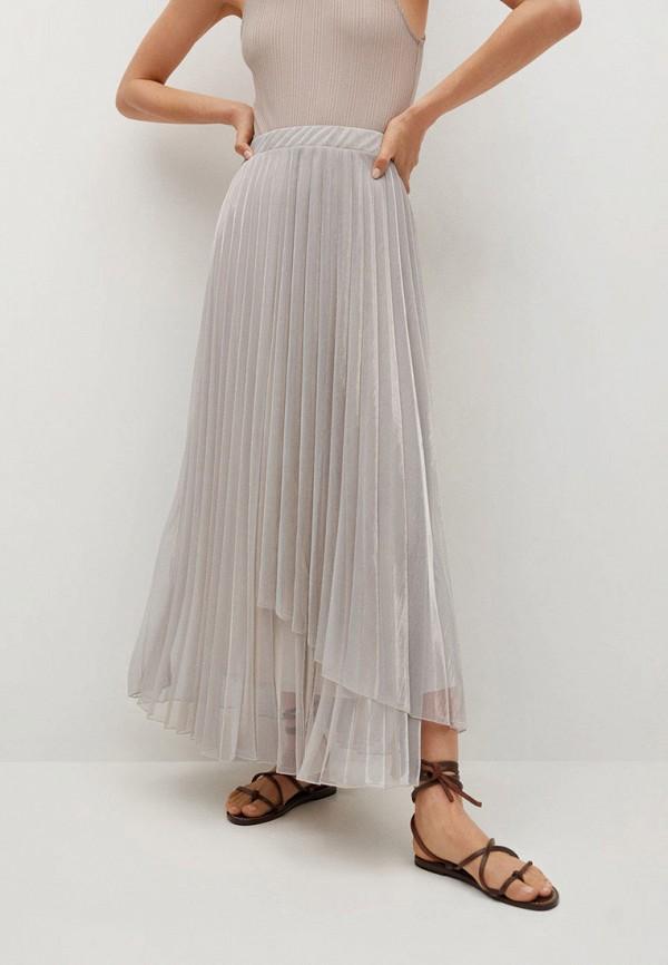 женская плиссированные юбка mango, серебряная