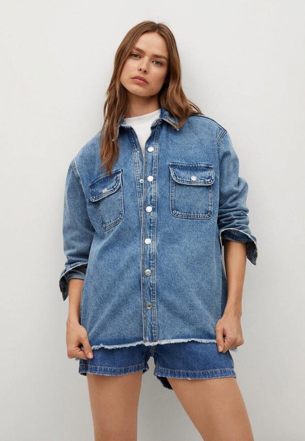 женская джинсовые рубашка mango, синяя