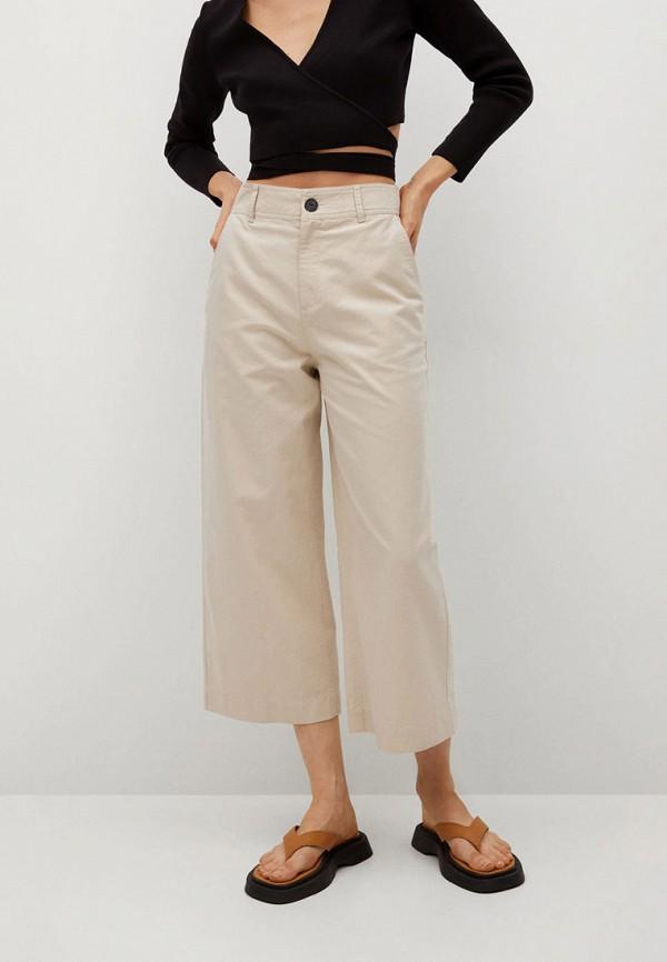 женские брюки кюлоты mango, бежевые