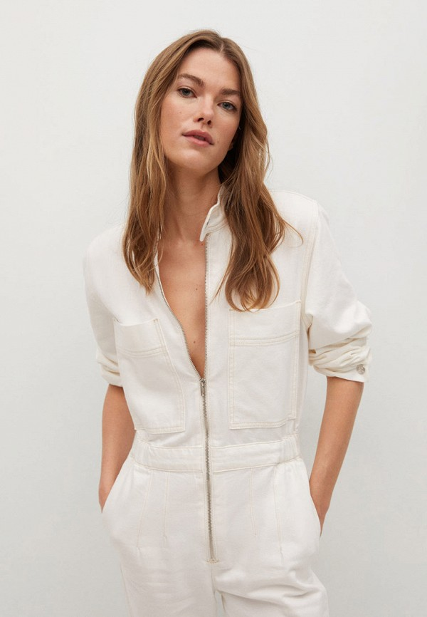 женский комбинезон с брюками mango, белый