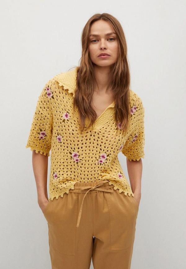 женский джемпер mango, желтый