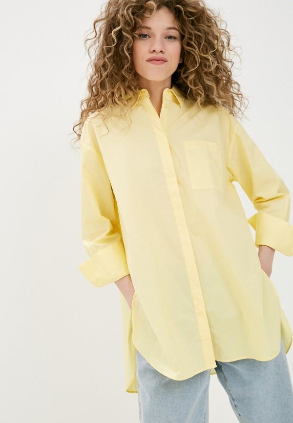 женская рубашка с длинным рукавом mango, желтая
