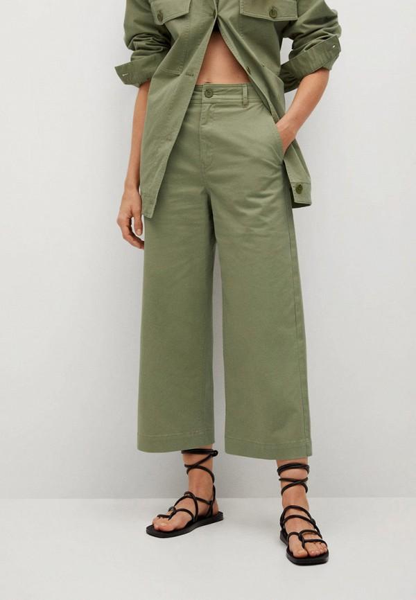 женские брюки кюлоты mango, хаки