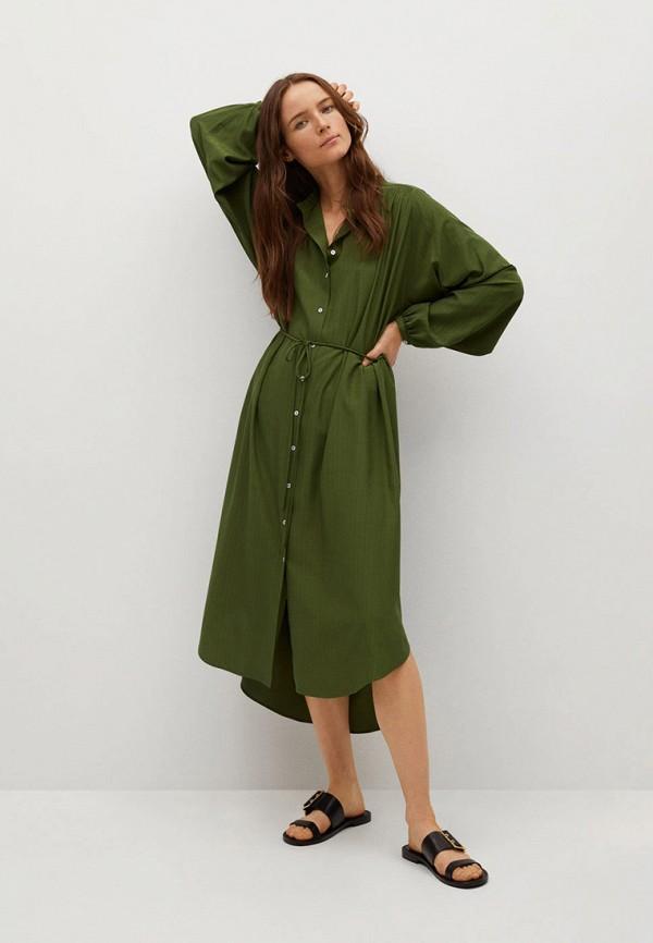 женское платье-рубашки mango, хаки
