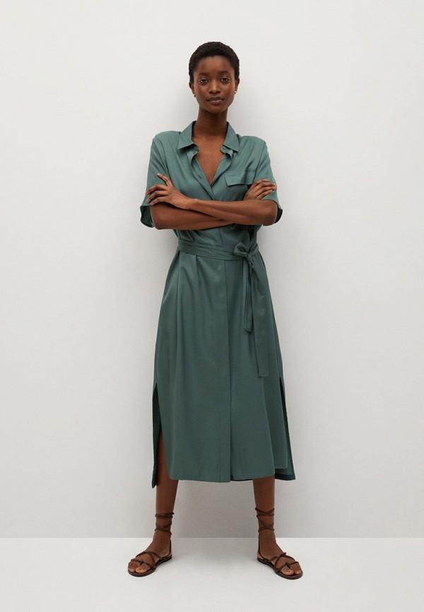 женское платье-рубашки mango, зеленое