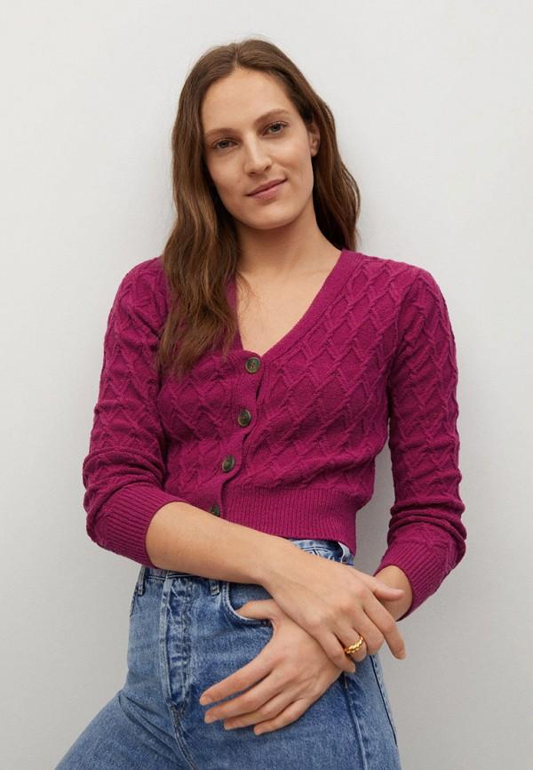 женский кардиган mango, фиолетовый