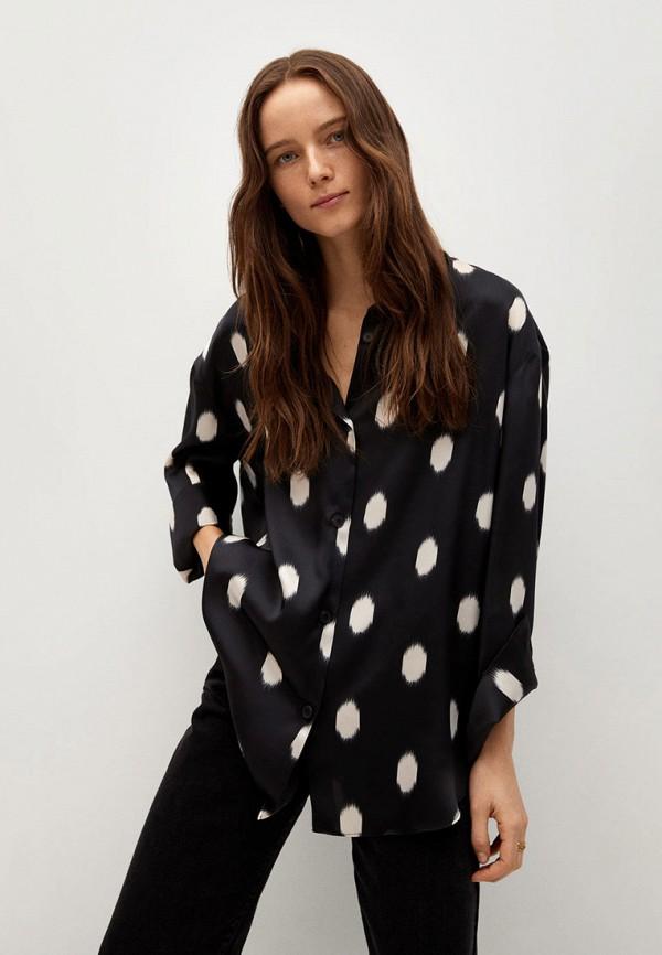 женская блузка с длинным рукавом mango, черная
