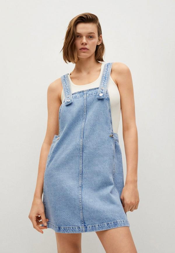 женское джинсовые платье mango, голубое