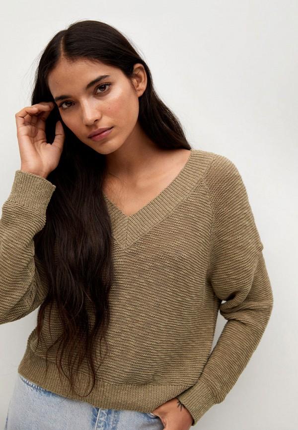 женский пуловер mango, хаки
