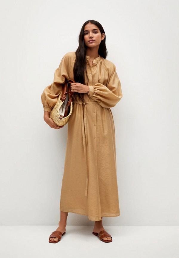 женское платье-рубашки mango, коричневое