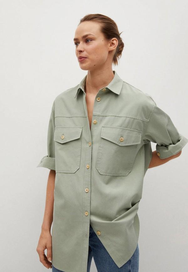 женская рубашка с длинным рукавом mango, зеленая