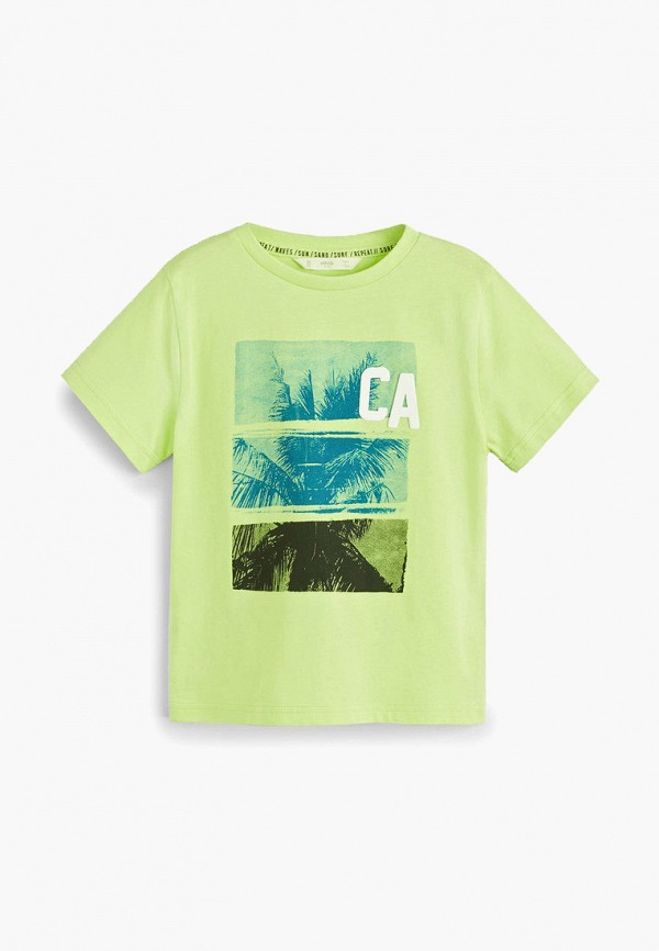 футболка с коротким рукавом mango kids для мальчика, зеленая