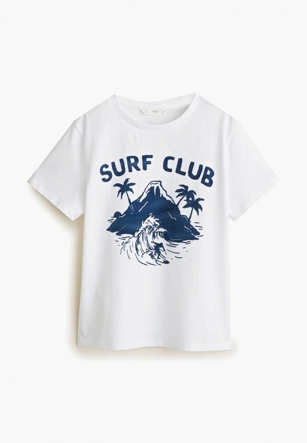 футболка mango kids для мальчика, белая