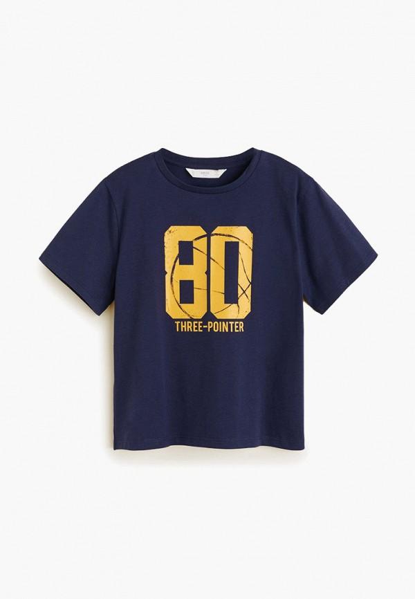 футболка с коротким рукавом mango kids для мальчика, синяя
