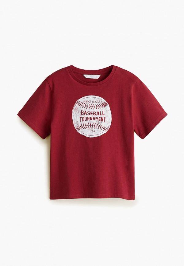 футболка с коротким рукавом mango kids для мальчика, красная