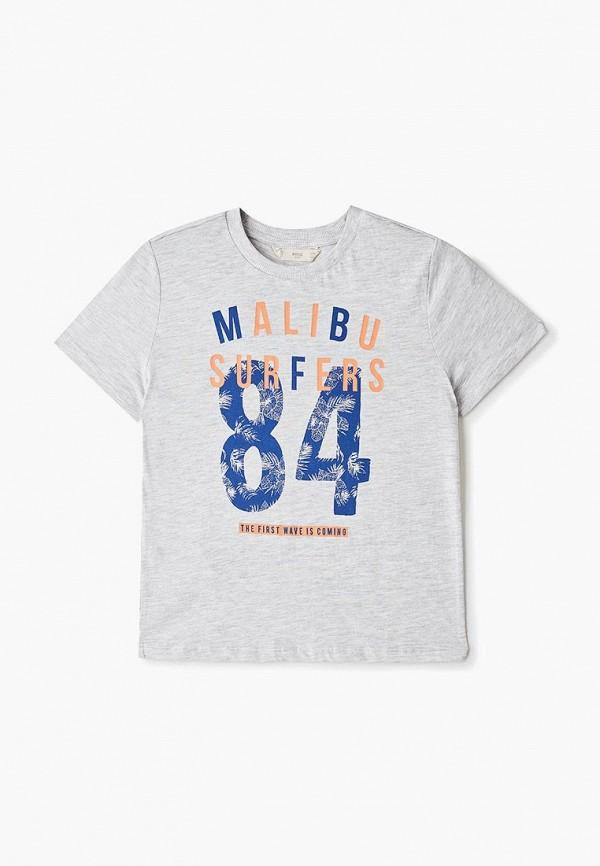 футболка mango kids для мальчика, серая