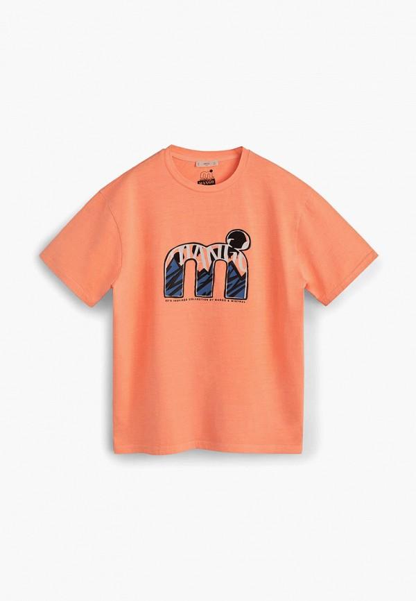 футболка mango kids для мальчика, оранжевая