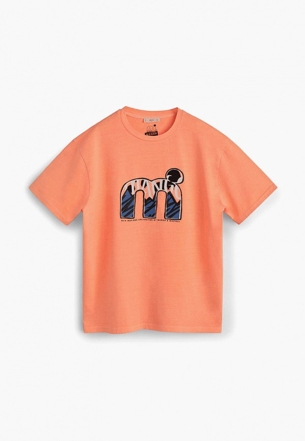 футболка с коротким рукавом mango kids для мальчика, оранжевая