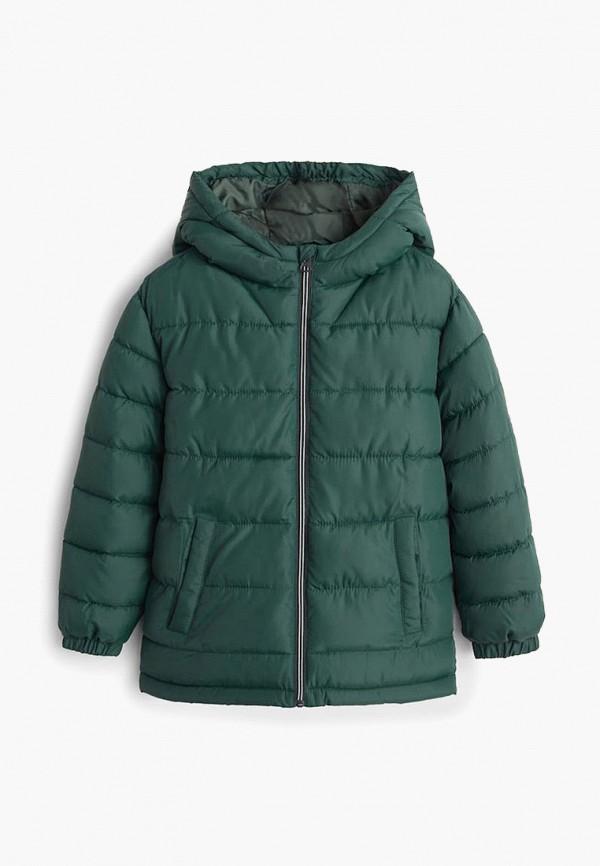 куртка mango kids для мальчика, зеленая