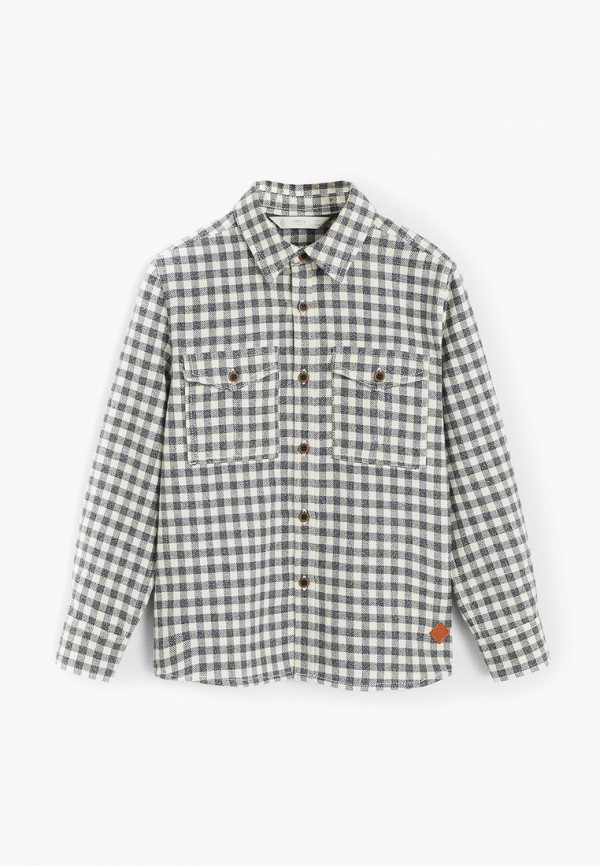 рубашка mango kids для мальчика, серая