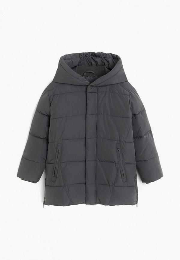 утепленные куртка mango kids для мальчика, серая