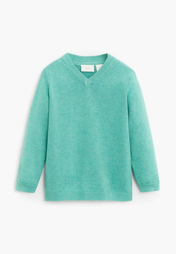 пуловер mango kids для мальчика, бирюзовый