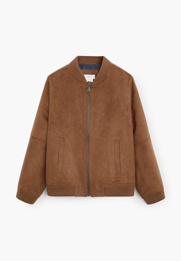 куртка mango kids для мальчика, коричневая