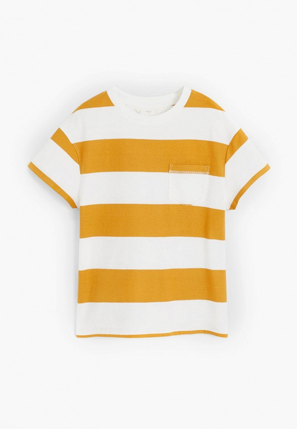 футболка с коротким рукавом mango kids для мальчика, желтая