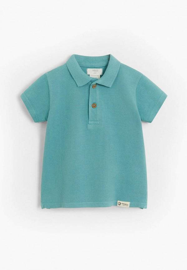 поло с коротким рукавом mango kids для мальчика, голубое