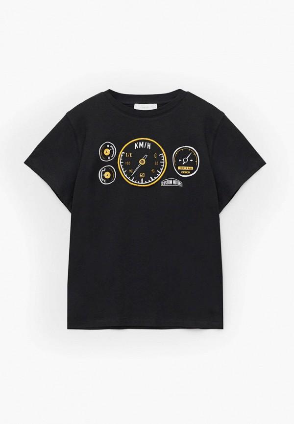 футболка с коротким рукавом mango kids для мальчика, черная