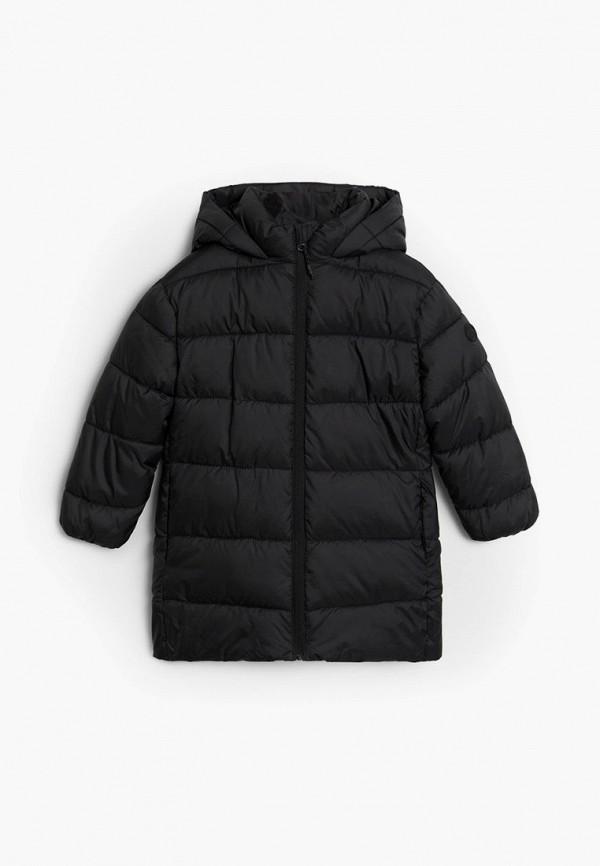 утепленные куртка mango kids для мальчика, черная