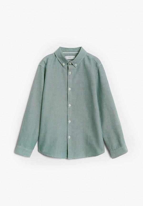 рубашка mango kids для мальчика, зеленая