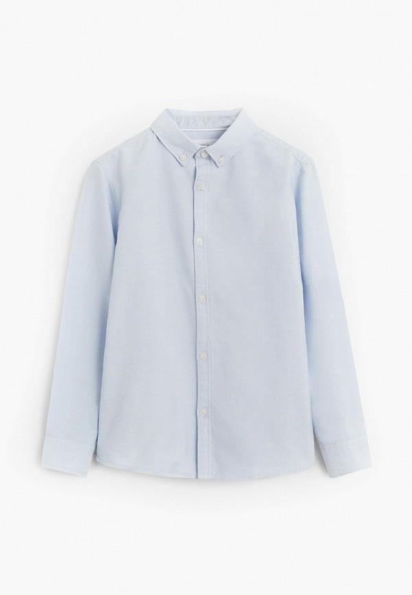 рубашка mango kids для мальчика, голубая