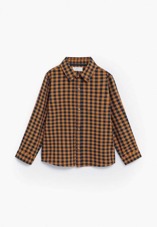 рубашка mango kids для мальчика, коричневая