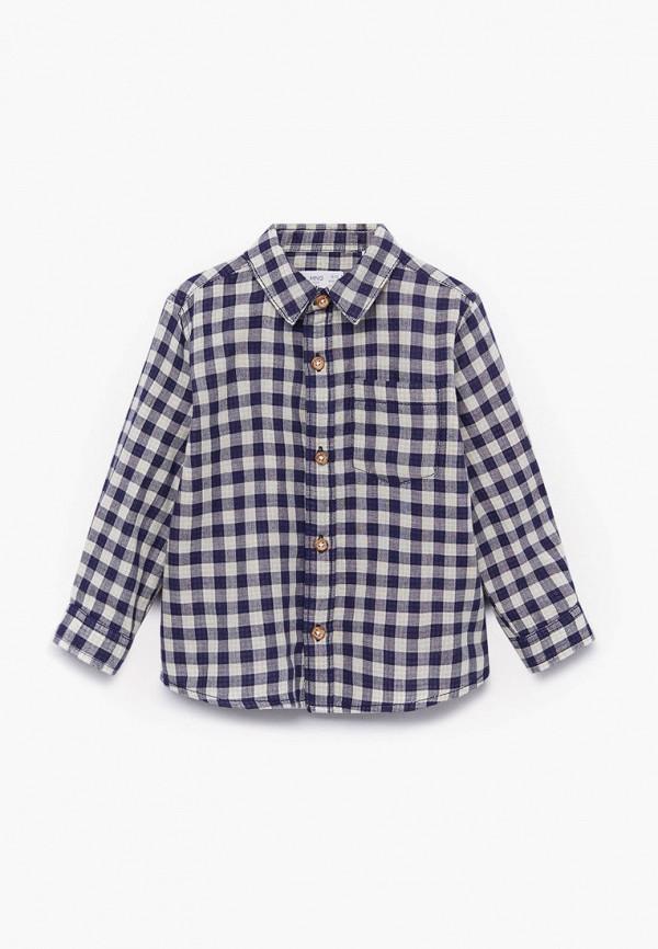 рубашка mango kids для мальчика, синяя