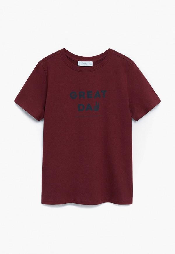 футболка с коротким рукавом mango kids для мальчика, бордовая