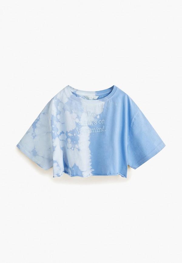 футболка с коротким рукавом mango kids для девочки, голубая