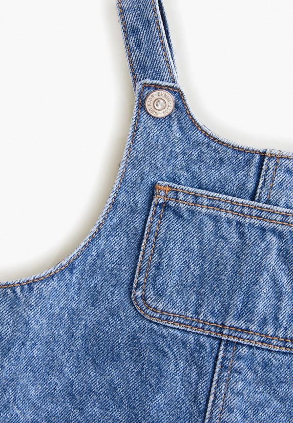 Фото 3 - платье или сарафан для девочки Mango Kids синего цвета