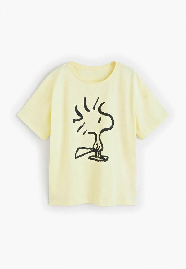 футболка с коротким рукавом mango kids для девочки, желтая