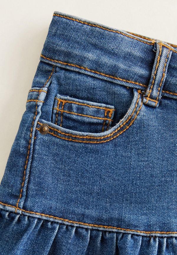 Фото 3 - Юбку джинсовая Mango Kids синего цвета