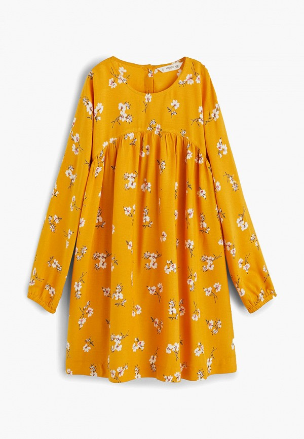 повседневные платье mango kids для девочки, желтое