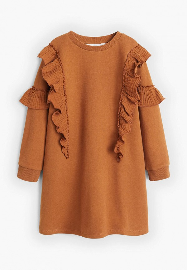 повседневные платье mango kids для девочки, коричневое