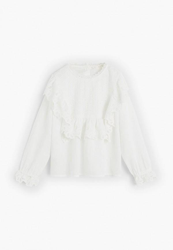 блузка mango kids для девочки, белая
